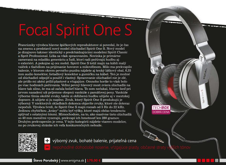 Recenzia na slúchadlá Focal Spirit One S v magazíne TECHBOX